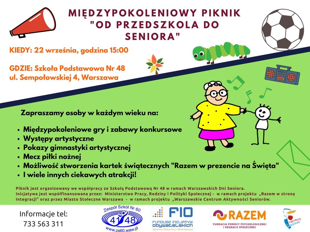 Międzypokoleniowy piknik -Od przedszkola do seniora-